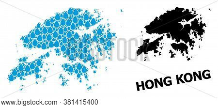 Vector Mosaic And Solid Map Of Hong Kong. Map Of Hong Kong Vector Mosaic For Clean Water Ads. Map Of