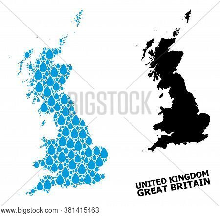 Vector Mosaic And Solid Map Of Great Britain. Map Of Great Britain Vector Mosaic For Drinking Water