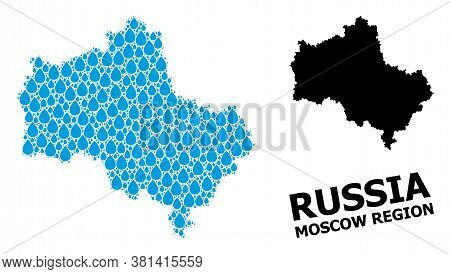 Vector Mosaic And Solid Map Of Moscow Region. Map Of Moscow Region Vector Mosaic For Clean Water Ads