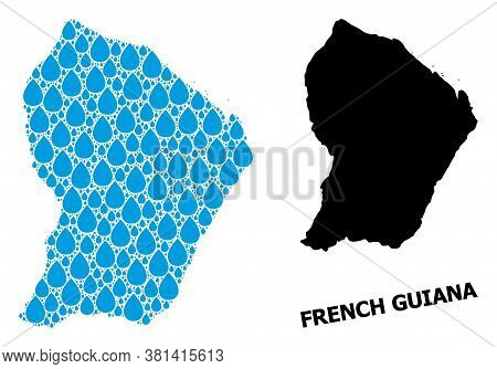Vector Mosaic And Solid Map Of French Guiana. Map Of French Guiana Vector Mosaic For Clean Water Ads