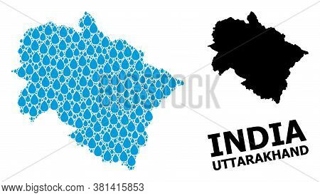 Vector Mosaic And Solid Map Of Uttarakhand State. Map Of Uttarakhand State Vector Mosaic For Drinkin