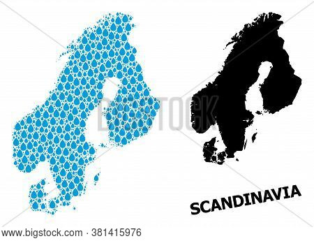 Vector Mosaic And Solid Map Of Scandinavia. Map Of Scandinavia Vector Mosaic For Clean Water Ads. Ma