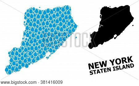 Vector Mosaic And Solid Map Of Staten Island. Map Of Staten Island Vector Mosaic For Drinking Water