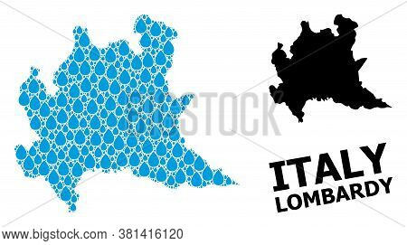 Vector Mosaic And Solid Map Of Lombardy Region. Map Of Lombardy Region Vector Mosaic For Pure Water