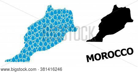 Vector Mosaic And Solid Map Of Morocco. Map Of Morocco Vector Mosaic For Drinking Water Ads. Map Of