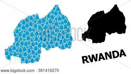 Vector Mosaic And Solid Map Of Rwanda. Map Of Rwanda Vector Mosaic For Drinking Water Ads. Map Of Rw