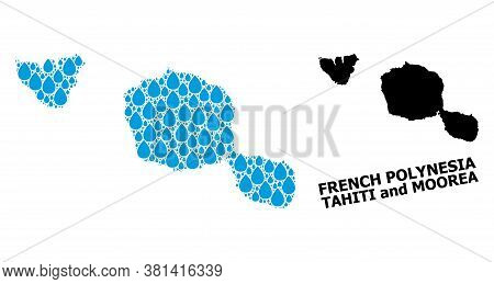 Vector Mosaic And Solid Map Of Tahiti And Moorea Islands. Map Of Tahiti And Moorea Islands Vector Mo