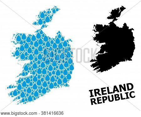 Vector Mosaic And Solid Map Of Ireland Republic. Map Of Ireland Republic Vector Mosaic For Drinking