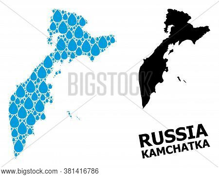 Vector Mosaic And Solid Map Of Kamchatka Peninsula. Map Of Kamchatka Peninsula Vector Mosaic For Pur