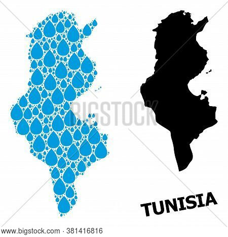 Vector Mosaic And Solid Map Of Tunisia. Map Of Tunisia Vector Mosaic For Drinking Water Ads. Map Of