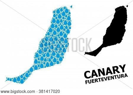 Vector Mosaic And Solid Map Of Fuerteventura Island. Map Of Fuerteventura Island Vector Mosaic For D