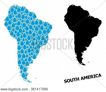 Vector Mosaic And Solid Map Of South America. Map Of South America Vector Mosaic For Drinking Water