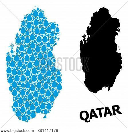 Vector Mosaic And Solid Map Of Qatar. Map Of Qatar Vector Mosaic For Pure Water Ads. Map Of Qatar Is