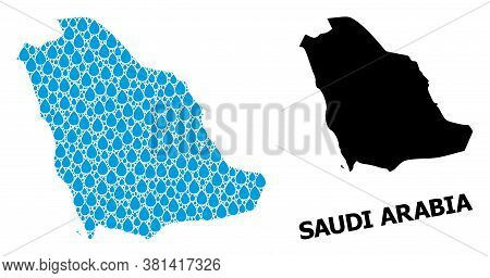Vector Mosaic And Solid Map Of Saudi Arabia. Map Of Saudi Arabia Vector Mosaic For Drinking Water Ad