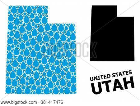 Vector Mosaic And Solid Map Of Utah State. Map Of Utah State Vector Mosaic For Drinking Water Ads. M