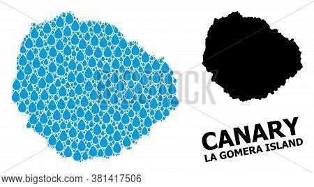 Vector Mosaic And Solid Map Of La Gomera Island. Map Of La Gomera Island Vector Mosaic For Drinking