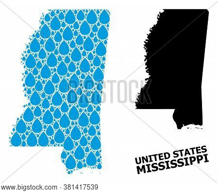 Vector Mosaic And Solid Map Of Mississippi State. Map Of Mississippi State Vector Mosaic For Drinkin