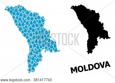 Vector Mosaic And Solid Map Of Moldova. Map Of Moldova Vector Mosaic For Pure Water Ads. Map Of Mold