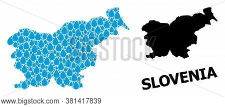 Vector Mosaic And Solid Map Of Slovenia. Map Of Slovenia Vector Mosaic For Drinking Water Ads. Map O