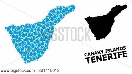 Vector Mosaic And Solid Map Of Tenerife Island. Map Of Tenerife Island Vector Mosaic For Drinking Wa