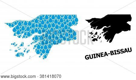 Vector Mosaic And Solid Map Of Guinea-bissau. Map Of Guinea-bissau Vector Mosaic For Pure Water Ads.