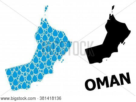 Vector Mosaic And Solid Map Of Oman. Map Of Oman Vector Mosaic For Drinking Water Ads. Map Of Oman I
