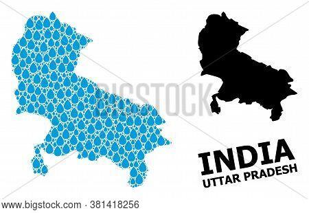 Vector Mosaic And Solid Map Of Uttar Pradesh State. Map Of Uttar Pradesh State Vector Mosaic For Dri