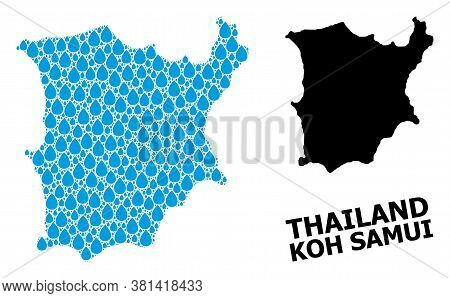 Vector Mosaic And Solid Map Of Koh Samui. Map Of Koh Samui Vector Mosaic For Drinking Water Ads. Map
