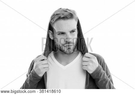 Mysterious Look. Fashion Trend. Street Style Outfit. Handsome Man Hood Standing White Background. Cl