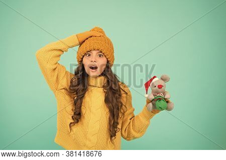 Awesome News. Girl Sincere Emotional Child Hold Rat Or Mouse Toy. Happy Childhood. Rat Symbol Year.