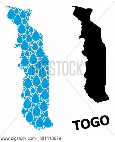 Vector Mosaic And Solid Map Of Togo. Map Of Togo Vector Mosaic For Drinking Water Ads. Map Of Togo I