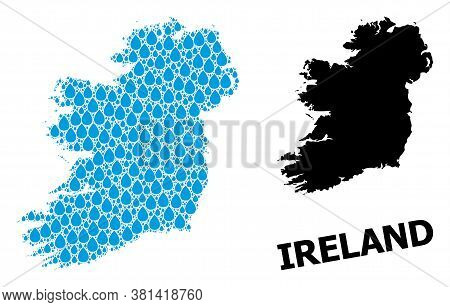 Vector Mosaic And Solid Map Of Ireland Island. Map Of Ireland Island Vector Mosaic For Drinking Wate