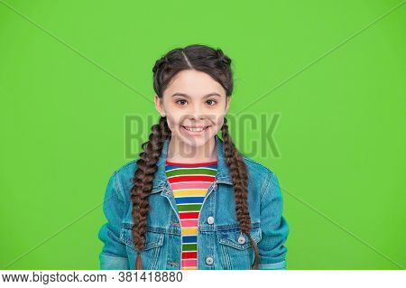 Have Smile On Your Lips. Happy Child Smile Green Background. Little Girl With Cute Smile. Dental Pro