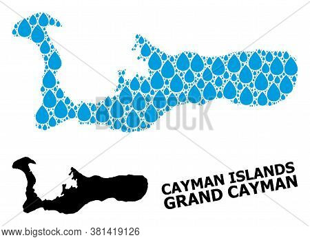 Vector Mosaic And Solid Map Of Grand Cayman Island. Map Of Grand Cayman Island Vector Mosaic For Pur