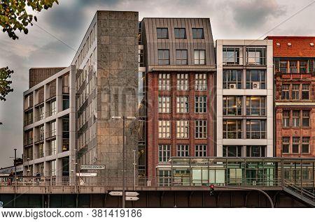 Hamburg / Germany - 09 06 2018: Modern Buildings Behind Subway Station On Bridge In Hamburg Germany.