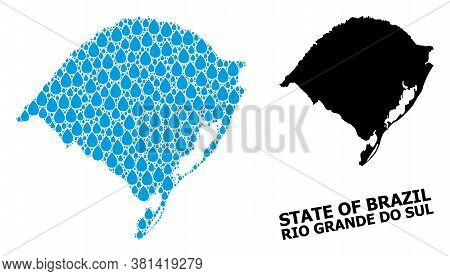 Vector Mosaic And Solid Map Of Rio Grande Do Sul State. Map Of Rio Grande Do Sul State Vector Mosaic