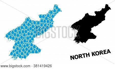 Vector Mosaic And Solid Map Of North Korea. Map Of North Korea Vector Mosaic For Pure Water Ads. Map