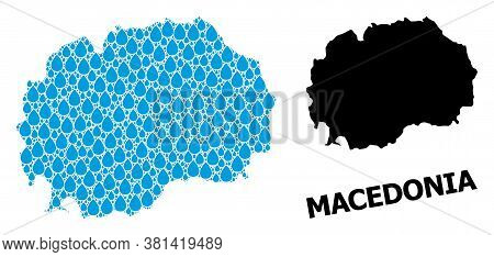 Vector Mosaic And Solid Map Of Macedonia. Map Of Macedonia Vector Mosaic For Clean Water Ads. Map Of