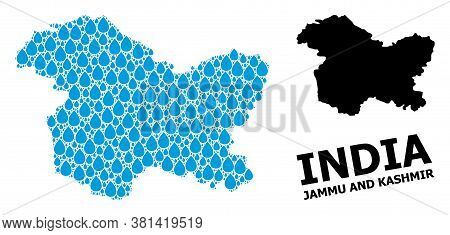 Vector Mosaic And Solid Map Of Jammu And Kashmir State. Map Of Jammu And Kashmir State Vector Mosaic