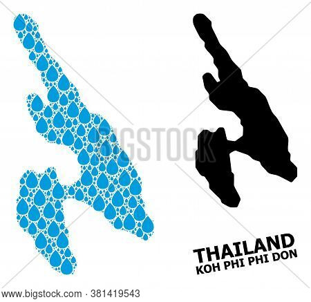 Vector Mosaic And Solid Map Of Koh Phi Don. Map Of Koh Phi Don Vector Mosaic For Pure Water Ads. Map