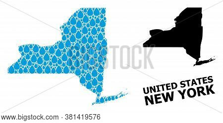 Vector Mosaic And Solid Map Of New York State. Map Of New York State Vector Mosaic For Drinking Wate