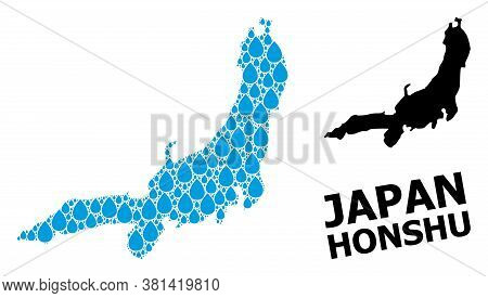 Vector Mosaic And Solid Map Of Honshu Island. Map Of Honshu Island Vector Mosaic For Drinking Water
