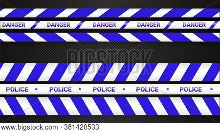 Police Tape, Crime Danger Line. Caution Police Lines Isolated. Warning Tapes. Set Of Blue Warning Ri