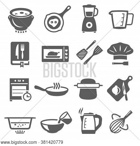 Cooking, Cookware Bold Black Silhouette Icons Set Isolated On White. Kitchenware, Microwave, Stove.