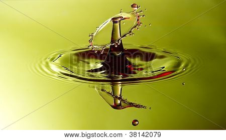 Water Drop Collision With Green And Yellow Background