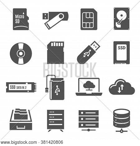 Data Storage Bold Black Silhouette Icons Set Isolated On White. Cloudy Technology, Hdd, Memory Stick