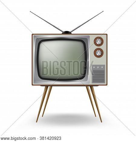 Tv Old-fashioned Four Legged With Antenna. Outmoded Television. Retro Household Device.