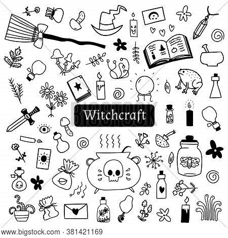 Halloween Doodle Set Of Witchcraft Stuff On White Background. Drawn By Hand Spooky Halloween Vector