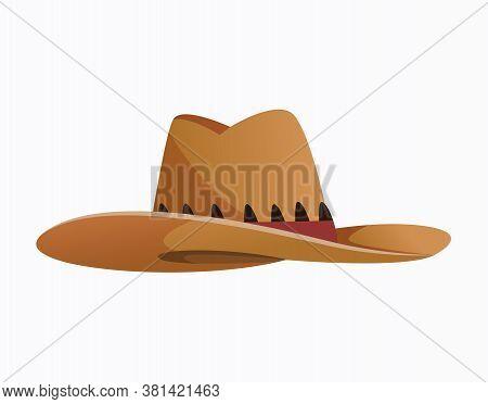 Headwear. Clothes Accessories. Fashion Headwear In Vintage Style, Old Classic Cowboy Hat. Vintage El