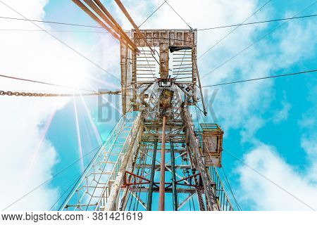 Drilling Rig With A Tower Tower. Oil Drilling Rig Operation On The Oil Platform In Oil And Gas Indus
